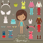 Paper doll outfits — Stock Vector