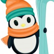 Cute cartoon penguin with skis — 图库矢量图片