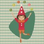 Harlequin juggling balls — Stock Vector #40670289