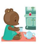 Teddy bear tea time. Vector illustration with clipping mask — Stock Vector
