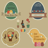 Easter retro labels and tags — Stock Vector