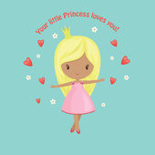 Cute little princess with hearts  — Stock Vector