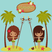 Hawaii  poster with Hula dancers and palm trees — Stok Vektör