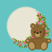 Beautiful blue floral blank card with teddy bear — 图库矢量图片