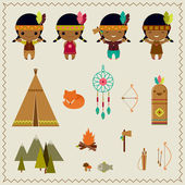 American indian clipart icons design   — Stock Vector