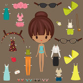 Dress up paper doll with body template — Stock Vector