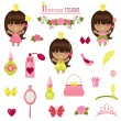 Three little princesses and fashion accessories. — Vecteur #46017805