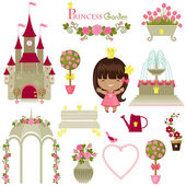 Princess garden. Cute isolated icons over white background — Stock Vector