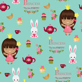 Princess tea time party seamless pattern — Stock Vector
