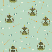 Seamless pattern with princess frog holding an arrow — Stock Vector