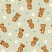 Seamless wallpaper with cute teddy bear on floral background — Stock Vector