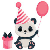 Birthday panda with gift box and balloon — Stock Vector