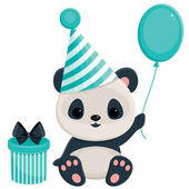 Birthday panda with gift box and balloon.  — Stock Vector