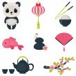 Oriental culture icons set vector illustration. — Stock Vector #47531105