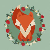Retro illustration of cute fox with berries and flowers — Vector de stock