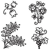 Four hand drawn floral patterns — Vetorial Stock