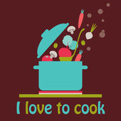 I love to cook vector card — Stock Vector