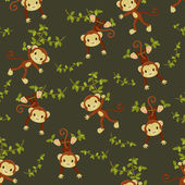 Seamless wallpaper. Monkeys hanging on the liana — Stock Vector