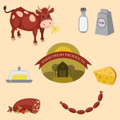 Farm products vector icons set — Stock Vector