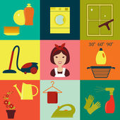 Flat vector icons of housekeeping — Stock Vector