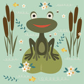 Cute cartoon frog sitting on a leaf on the lake. — Stock Vector