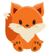 Cute baby fox sitting alone, isolated over white — Stock Vector