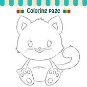 Coloring page cute little kitten  — Stock Vector