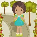 Little girl outside, going to school — Stock Vector #50526575