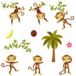 Happy funny monkeys set. Isolated over white — Stock Vector #50526579