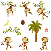 Happy funny monkeys set. Isolated over white — 图库矢量图片