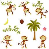 Lyckliga roliga apor inställd. isolerade över vita — Stockvektor