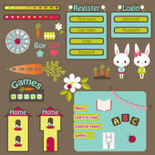 Children website vector icons set  — Vector de stock