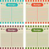 Four recipe cards in different colors. Ready to fill up. — Stock Vector