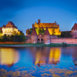 Malbork castle in Poland at night — Stock Photo
