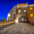 Stock Photo: Water gate in Grudziadz city at night