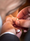 Putting wedding ring on bride finger — Stock Photo