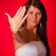 Beautiful bride shows her wedding ring — Stock Photo