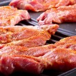 Steak meat on barbecue — Stock Photo
