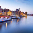 Old town of Gdansk at Motlawa river at sunset — Stock Photo #12595809