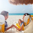 Couple on holidays at Caribbean Sea — Stock Photo
