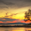 Sunset at the lake in Ireland — Stock Photo