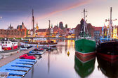 Old town of Gdansk at Motlawa river at sunset — Stock Photo
