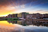 Amazing sunset at the river of Cork city — Stock Photo
