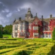 Stock Photo: Adare gardens and castle in red ivy