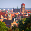 Panorama of old town of Gdansk with historic buildings — Stock Photo