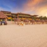 Empty Caribbean beach at sunrise — Stock Photo