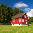 Stock Photo: Red Swedish cottage house