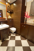 Modern brown bathroom — Stock Photo