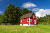 Red Swedish cottage house — Stock Photo