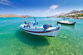 Fishing boats at the coast of Crete — Stock Photo